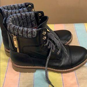 Tommy Hilfiger black combat boots woman 6.5 NWOT